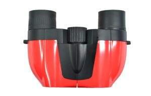 Small red reverse porro prism binocular