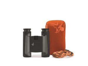 black compact binocular with orange case