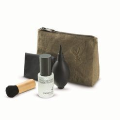 Swarovski cleaning kit showing brush, cloth,cleaning fluid and case